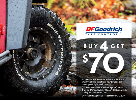 BF GOODRICH $70 MasterCard on 4 tires
