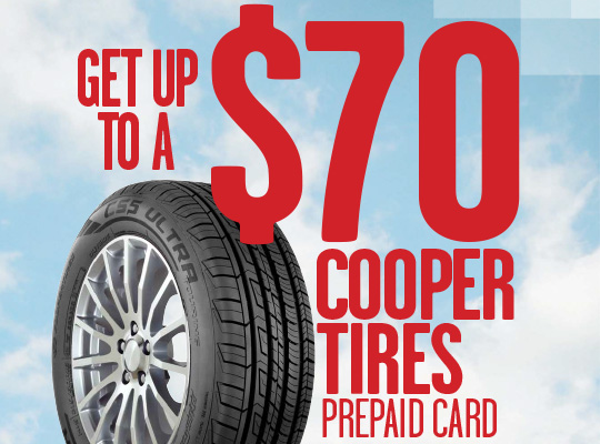Cooper Tire up to $70 Visa Card