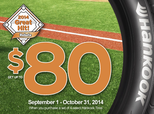 Hankook Tire up to $80 mail in rebate - 4 tires