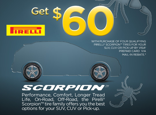Pirelli Tire $60 Visa Card