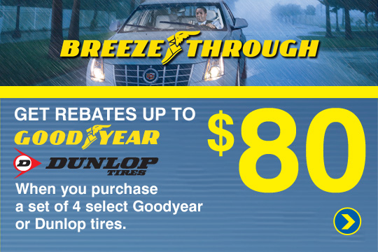 Get up to an $80 Mail-in Rebate on Goodyear Dunlop Tires