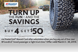 BF Goodrich Tire $50 mail in rebate - 4 tires