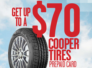COOPER Visa Prepaid Card mail-in Reward on 4 tires