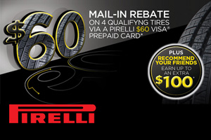 Pirelli Tire $60 mail in rebate - 4 tires
